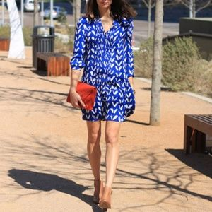 Anthropologie Maeve Blue White Caravane Dress